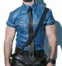 Men's Lambskin Leather Police Shirt Bluf Gay Blue Color White Piping Lederhemd