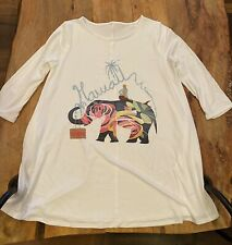 Hawaii Mermaid Elephant 3/4 Sleeves Woman's Shirt Top With Side Pockets