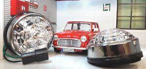 Mini Classic LED Clear Indicator Light Unit & Chrome Rim Trim Retro 12v 74mm x2