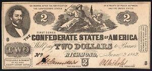 CSA Confederate States T42 $2 1862 plate 6 uncirculated Richmond Civil War Nice!