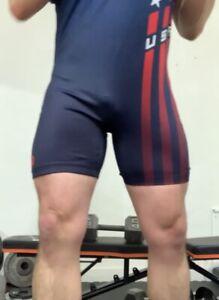 Mens Wrestling Singlet 2XL TEAM USA RED EUC