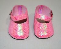 "Fits American Girl Dolls Our Generation 18"" Doll Clothes Pink Glitter Shoes"