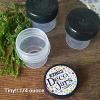 12 Vial Black Cap Pot JAR Bottle 1/4oz Cache Glitter Powder DecoJars #2803 USA