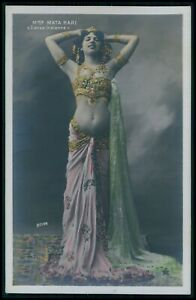 French 1910 Hand Tinted Mata Hari Belly Dancer SPY Boyer old 1910 photo postcard