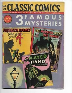 "CLASSIC COMICS 21 - VG 4.0 - ""3 FAMOUS MYSTERIES"" - ORIGINAL EDITION (1944)"