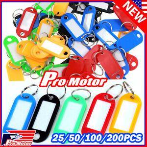 100X Plastic Key Tags Metal Ring Luggage Card Name Label Keychain W/ Split Ring