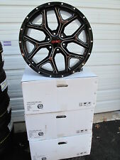 "22"" GMC YUKON SIERRA SUV FACTORY STYLE SATIN BLACK MILLED NEW SET OF WHEELS 5668"