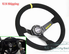 DEEP DISH 350MM 6 HOLE LEATHER & Black STITCH RACING JDM STEERING WHEEL & HORN
