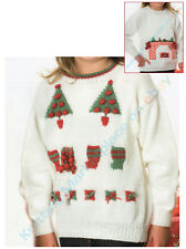 2 Knitting Patterns - Xmas Fireplace & Parcels/Trees Jumpers 6 Sizes 4yr+  C109