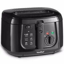 VonShef Deep Fat Fryer Electric 2.5L Observation Window Chip Pan Black 1800W