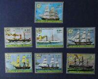 Lote 7 sellos stamp Republica Guinea Ecuatorial, Barcos velero, usados