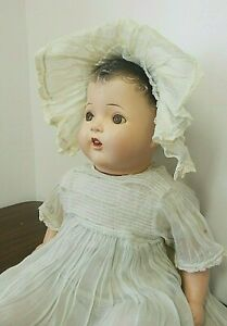 """Vintage/Antique 24"""" Unmarked Composition Mama Doll w/Molded Hair, Sleep Eyes"""