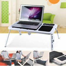 Foldable Table Laptop Lap Desk E-Table Bed w/ USB Cooling Fans Stand Home White
