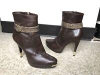 Women's Dark Brown Bruno Magli Italy Leather side Zip Booties Heels Zipper SZ 38