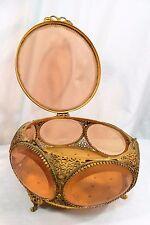 Lg Vintage Ormolu Gold Filigree Beveled Peach Glass Jewelry Vitrine Casket Box