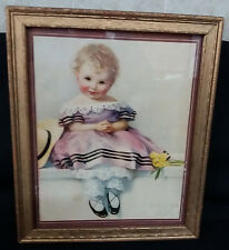 Vintage Framed Sweet Victorian Child Print Spring Time 1825