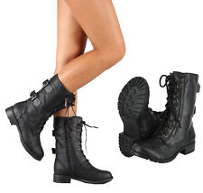 Women's Combat Riding Boot Mid Calf Military Lace Up with Buckle & Side Zipper