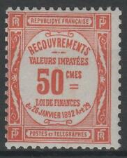"FRANCE STAMP TIMBRE TAXE 47 "" 50c ROUGE "" NEUF xx TTB , VALEUR: 1000€  N217"