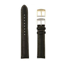 New HAMILTON WATCH STRAP Black Leather 14/12mm Extra Long w/ Extra Gold Buckle