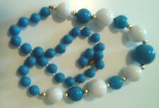 """NECKLACE WITH TURQUOISE & WHITE  BEADS LENGTH 24"""""""