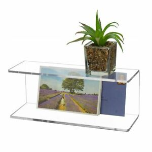 Transparent 2 Layer Wall Shelf Acrylic Storage Rack Bedroom Home Kitchen Display