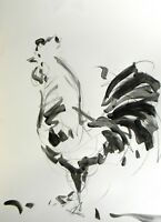 JOSE TRUJILLO ACRYLIC PAINTING ABSTRACT ROOSTER ART MODERN SIGNED EXPRESSIONIST