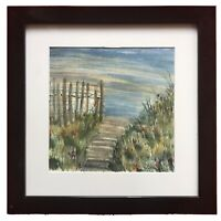 Original American Art Watercolour Painting Landscape Path To The Sea Tom Steiner
