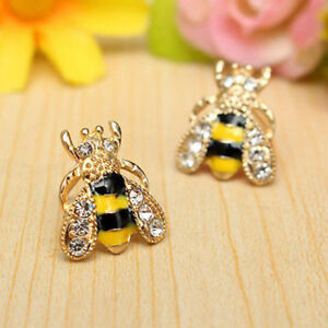 1pair Mini Jewelry Enamel Rhinestone Bumble Bee Crystal Earrings Animal Ear Stud