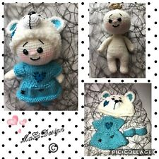 """Big Head Baby In Bear Dress Collection  Handmade Crochet Toy Height  9"""""""