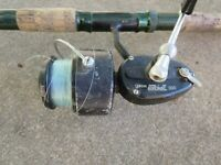 Vintage Garcia Mitchell 300 Spinning Fishing Reel Made in France w Green Rod