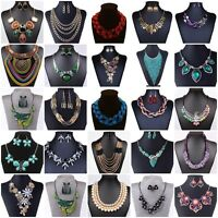 Fashion Women Jewelry Pendant Chain Crystal Statement Choker Chunky Bib Necklace