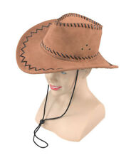 Cowboy Hat Stitched Brown Fancy Dress Adult Brown Cowboy Hat One Size