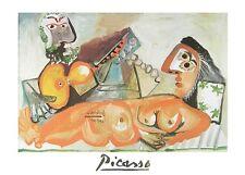 Pablo Picasso liegender Akt und Musiker Poster Kunstdruck Bild 70x50cm
