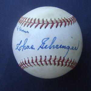 BURLEIGH GRIMES  CHAS GEHRINGER Dual Signed   Baseball Autographed  JSA Z97062