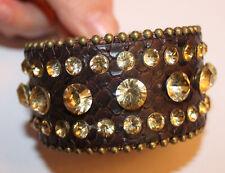 Cowgirl Western Leather brown gold Cuff Wide Snap Bracelet Rhinestones