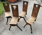 Cabin Chair Antique Folk Art Stool Primitive Wood 3 Legged rustic