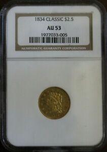 1834 Classic Quarter Eagle $2.5 Gold Coin NGC AU53