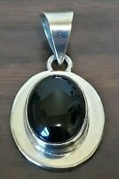 Signed IONE TISSOT Somerset Oval Onyx 925 Sterling Silver Pendant, Mexico