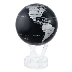 MOVA Silver Tone and Black Globe 4.5 Inch Spinning Moving Rotating Earth