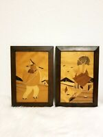 ON SALE Vintage Mexican Folk Art Wood Framed Wood Inlay Art / Marquetry, Gifts