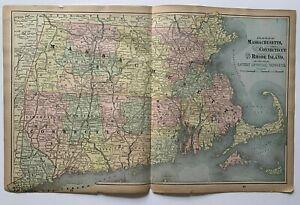 1893 Massachusetts RI CT New England Map Gaskell's Family & Business Atlas vtg