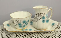 Vintage Old Royal Bone China Sugar Creamer Plate Tray Set Blue Thistle Scalloped