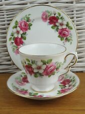 Vintage  Bone China Tea Cups Saucers Plates Queen Anne Cream Pink Red Roses