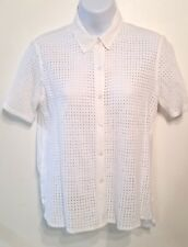 Gap women's white lace button down top cotton blouse size small
