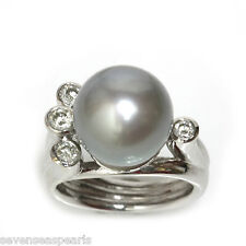 Tahitian Pearl Diamond  Ring 12 MM  AAA Flawless 14kt White Gold Silver Blue