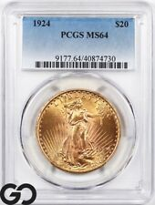 1924 Double Eagle, $20 Gold St Gaudens PCGS MS 64 ** Nice Cartwheel Mint Luster!