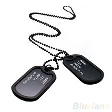 Military Army Style Black 2 Dog Tags Pendant Chain Men's Pendant Necklace GRC24