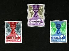 1966 South Vietnam Full Set Mnh 3 Stamps Free World's Aid for Vietnam 6D 4D 3D