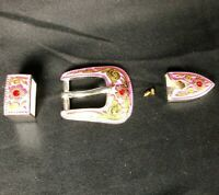 Pink Belt Buckle Western Floral Women's 3-piece Set Tip & Keeper Loop Tandy