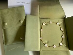 Authentic Van Cleef & Arpels 10 Motifs Vintage Alhambra Mother of Pearl Necklace